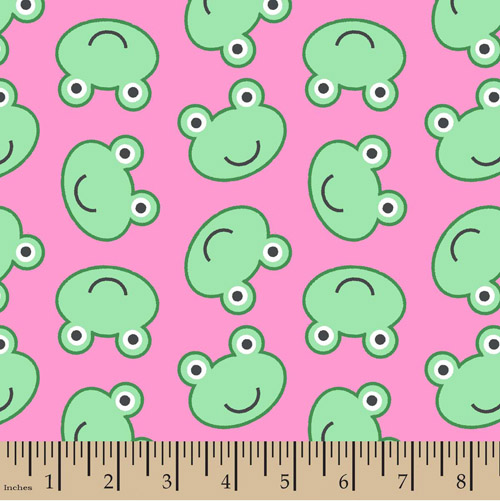 Frog Faces Pink Flannel